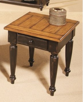 End Table - Antique Black/Oak Finish