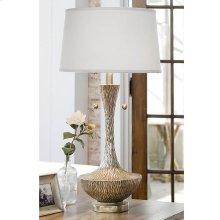 Embossed Silver Vessel Table Lamp