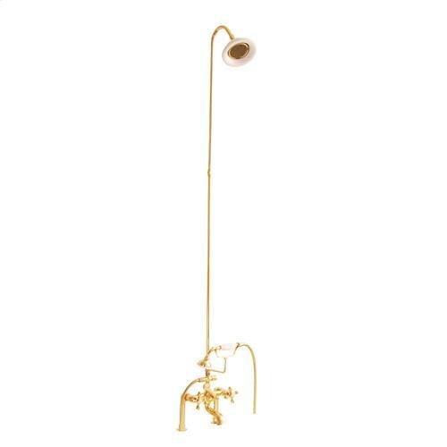 Tub/Shower Converto Unit - Elephant Spout, Riser, Showerhead - Cross / Polished Brass