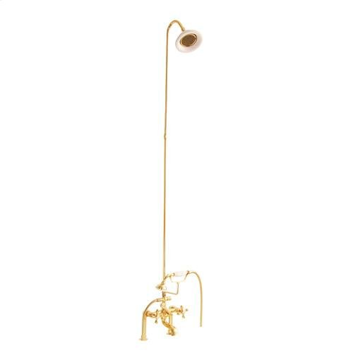 Tub/Shower Converto Unit - Elephant Spout, Riser, Showerhead - Cross / Polished Brass