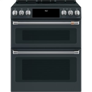 "Cafe AppliancesCaf(eback) 30"" Slide-In Front Control Induction and Convection Double Oven Range"