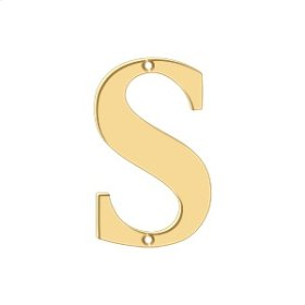 """4"""" Residential Letter S - PVD Polished Brass"""