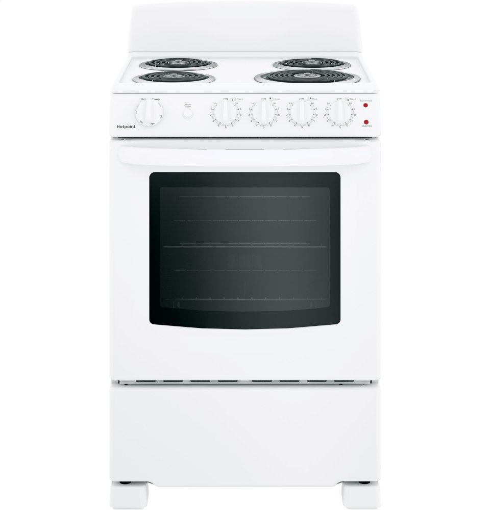 """Hotpoint(R) 24"""" Electric Free-Standing Front-Control Range  WHITE"""