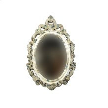Carved Wood Wall Mirror, Antique White