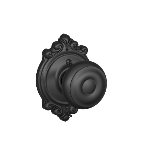 Georgian Knob with Brookshire trim Non-turning Lock - Matte Black