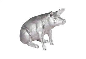 Pig Sculpture Silver Leaf