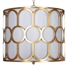 Art Deco Style Gold Leaf Pendant With White Linen Inner Shade and Diffuser.