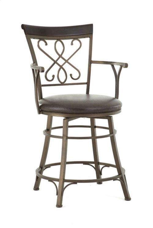 """Carmona Jumbo Swivel Bar Chair with Armrest, 24""""x24""""x48"""""""