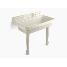 """Almond 48"""" X 28"""" X 41-11/16"""" Top-mount or Wall-mount Utility Sink With 2 Faucet Holes On Left and Right Backwalls"""