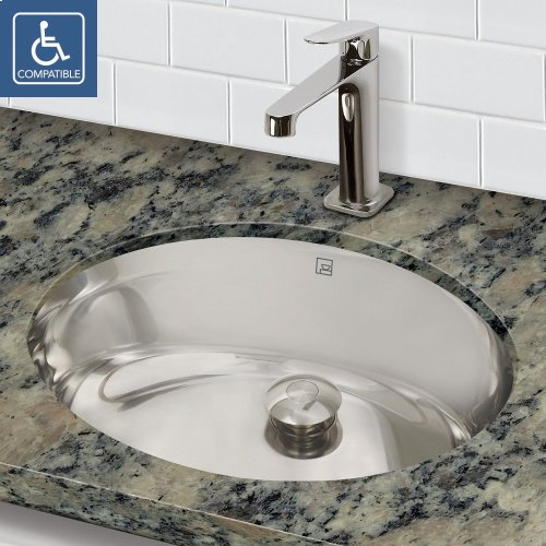 Taji Oval Undermount or Drop-in Stainless Steel Lavatory - Polished