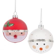 Santa & Snowman Hinged Treasure Box Ball Ornament. (6 pc. ppk.)
