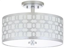 Cedar Linked 3 Light 15-inch Dia Silver Flush Mount - Silver Shade Color: Off-White