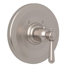 Satin Nickel Verona Thermostatic Trim Plate Without Volume Control with Verona Series Only Metal Lever