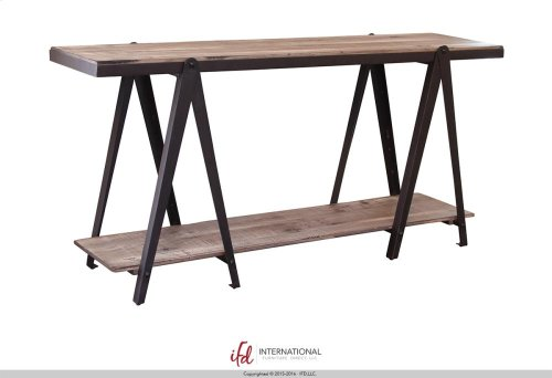 """65"""" Wooden console with 2 Shelves with metal accents"""