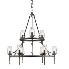 Marcellis 2 Tier - 9 Light Chandelier in Dark Natural Iron with Clear Glass
