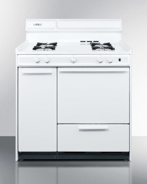 """36"""" Wide White Gas Range With Battery Start Ignition"""