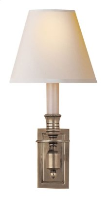 Visual Comfort S2210AN-NP Studio French 1 Light 6 inch Antique Nickel Decorative Wall Light in Natural Paper