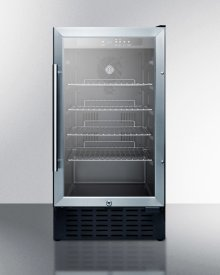 "18"" Wide ADA Compliant Glass Door Refrigerator for Built-in or Freestanding Use, With Digital Controls, Lock, and LED Light"