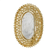 Gold Leaf Oval Mirror With Insets -can Be Hung Vertically or Horizontally