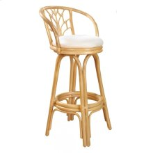 "Bali Indoor Swivel Rattan & Wicker 30"" Bar Stool in Natural Finish with Cushion"
