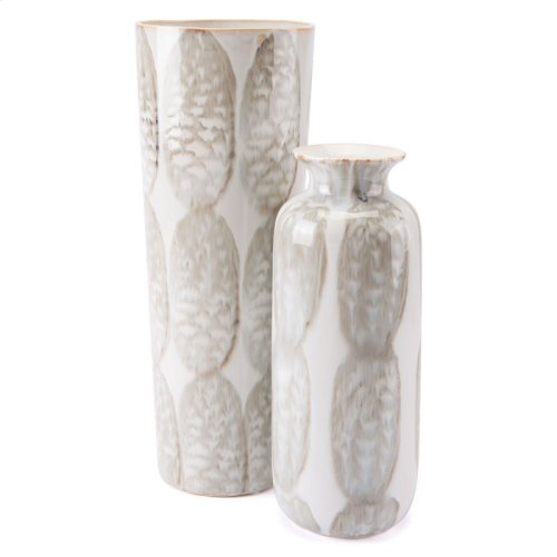Feather Short Vase Ivory & Sage Green