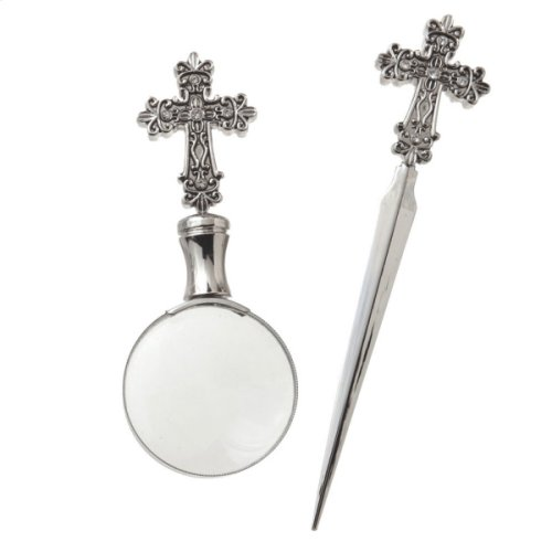 Cross Crown Magnifying Glass and Letter Opener set/3