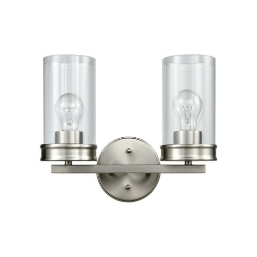 Leland 2-Light Vanity Lamp in Satin Nickel with Clear Blown Glass