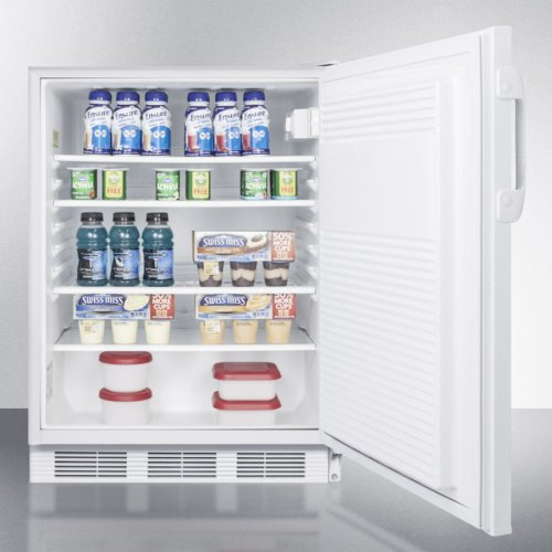 ADA Compliant Built-in Undercounter All-refrigerator for General Purpose or Commercial Use, With Flat Door Liner, Auto Defrost Operation and White Exterior