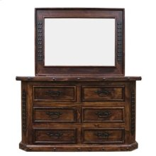 """Mirror : 48"""" x 36"""" x 2.5"""" Fine Lacquer Six Drawer Dresser and Mirror"""