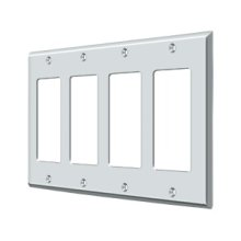 Switch Plate, Quadruple Rocker - Polished Chrome