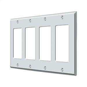 Switch Plate, Quadruple Rocker - Polished Chrome