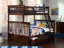 Columbia Bunk Bed Twin over Full with Raised Panel Bed Drawers in Walnut