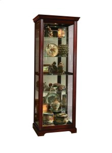 Sliding Door 5 Shelf Curio Cabinet in Victorian Brown