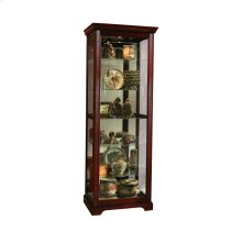 Sliding Door 5 Shelf Curio Cabinet in Victorian Brown