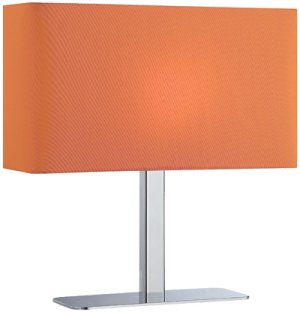 Table Lamp, Chrome/orange Fabric Shade, E12 Type G 40w