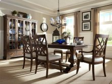 7 PIECE SET (TABLE, 2 ARM CHAIRS AND 4 SIDE CHAIRS)