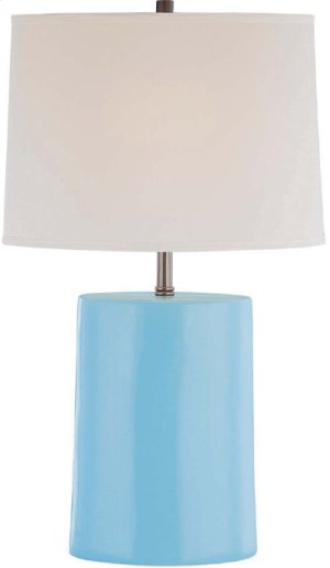 Ceramic Table Lamp, L.BLUE/WHT Fabric Shade, Type A 60w