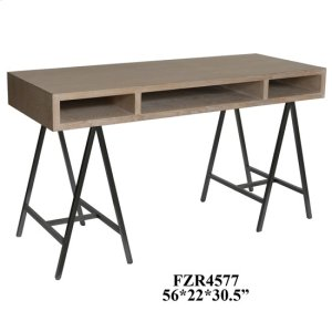 CRESTVIEW COLLECTIONSWillow Metal A Frame and Light Oak 3 Open Space Desk