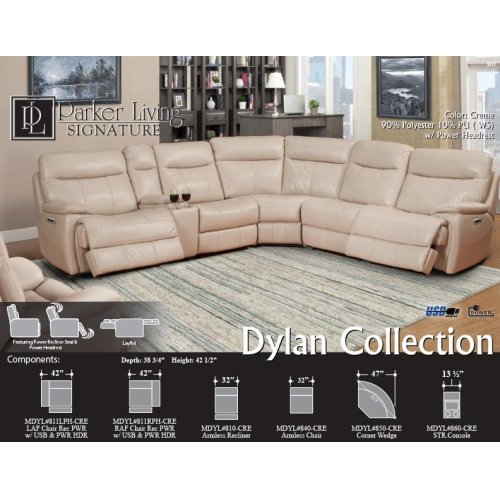 Dylan Crème Manual Armless Recliner