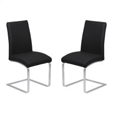 Armen Living Blanca Contemporary Dining Chair in Black Faux Leather with Brushed Stainless Steel Finish - Set of 2