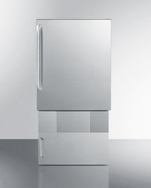 Outdoor Icemaker for Built-in Use Under ADA Compliant Counters, In Complete Stainless Steel With Towel Bar Handle and Lower Base Storage Cabinet
