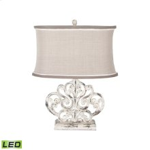 Carved Scroll Element LED Table Lamp In Vintage Bouleau Blanc
