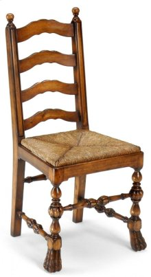Walnut Ladder Back Chair with Lion's Paw Feet (Side)