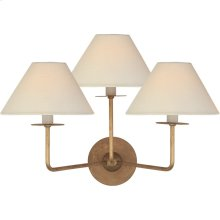 Visual Comfort NW2070GI-L Niermann Weeks Kelley 3 Light 19 inch Gilded Iron Triple Sconce Wall Light, Medium
