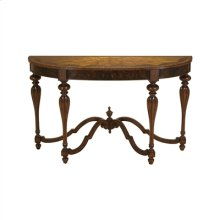 Aged Regency Finished Console Table, Marquetry Accents