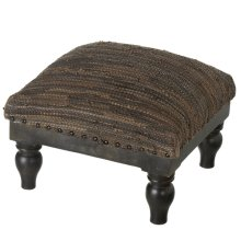 Brown & Black Leather Chindi Stool (Each One Will Vary).