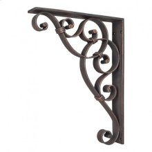 """1-7/8"""" x 10"""" x 13-1/2"""" Metal (Iron) Scrolled Bar Bracket with Knot Detail. Finish: Dark Brushed Antique Copper. Mounting Screws (#8x3/4"""") Included. Not for outdoor use."""