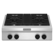 30-Inch 4-Burner Gas Rangetop, Commercial-Style - Stainless Steel