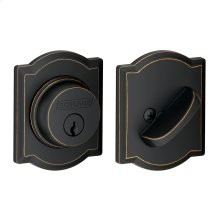 Single Cylinder Deadbolt with Camelot trim - Aged Bronze