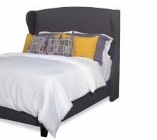 Queen Upholstered Winged Complete Bed - Charcoal Gray Finish